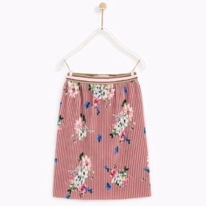 Zara girls pink printed pleated velour skirt